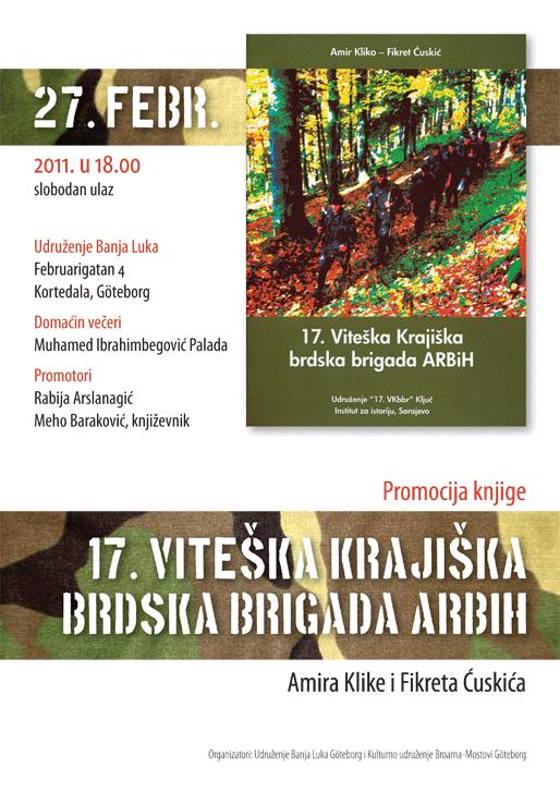 "Promocija knjige ""17. Viteška Krajiška brdska brigada ARBiH"""