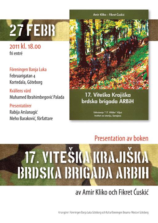 """Presentation av boken """"17. Viteška Krajiška brdska brigada ARBiH"""""""
