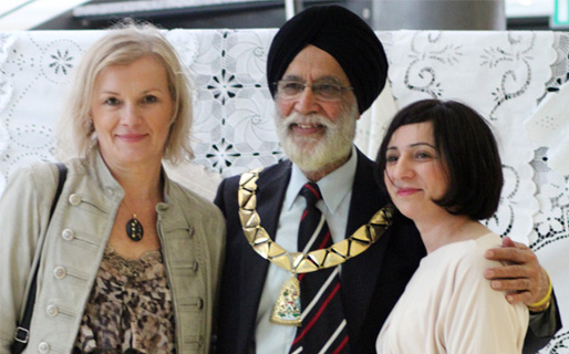 Recognition: Senada Besic, vice-chairwoman of Bosnia and Herzegovina Woman's Forum in Sweden, Mayor of Brent, Councillor Harbhajan Singh and Sadida Trozic, manager of Bosnia and Herzegovina Community Advice Centre in Brent (Photo by Kani Ahmad Johnson)