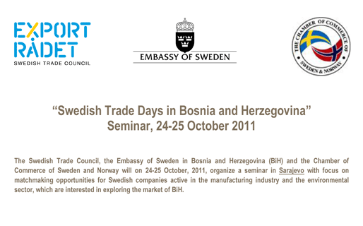 Swedish Trade Days in Bosnia and Herzegovina