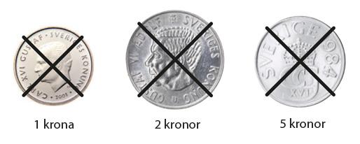 Efter 30 juni blir de äldre 100- och 500-kronorssedlarna samt de äldre 1-, 2- och 5-kronorna ogiltiga