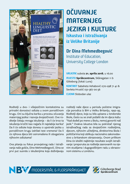 """Dr Dina Mehmedbegović: """"Očuvanje maternjeg jezika i kulture – Iskustva i istraživanja iz Velike Britanije"""""""