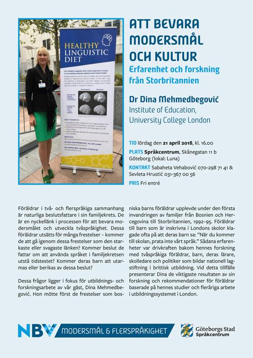 """Dr Dina Mehmedbegović: """"Att bevara modersmål och kultur – Erfarenhet och forskning från Storbritannien"""""""