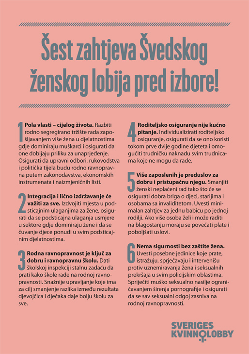 Šest zahtjeva Švedskog ženskog lobija pred izbore