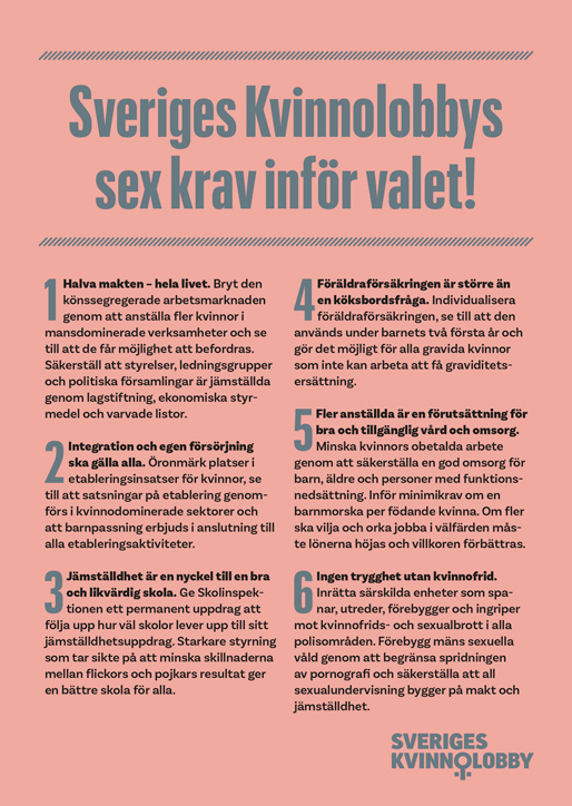 Sveriges Kvinnolobbys sex krav inför valet
