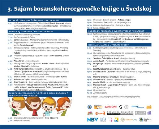 Brošura za 3. Sajam bosanskohercegovačke knjige u Švedskoj, strana 2 i 3