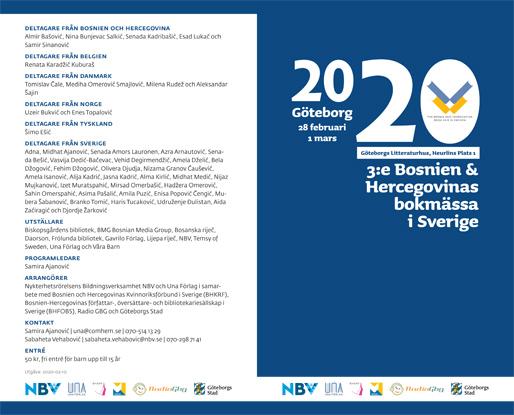 Broschyr för 3:e Bosnien och Hercegovinas bokmässa i Sverige, sidan 1 och 4