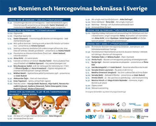Broschyr för 3:e Bosnien och Hercegovinas bokmässa i Sverige, sidan 2 och 3
