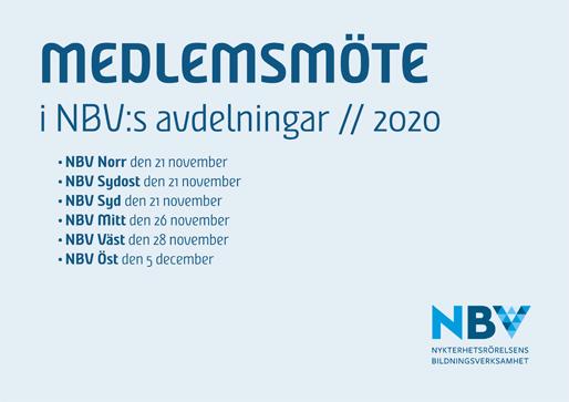 Medlemsmöte i NBV:s avdelningar 2020