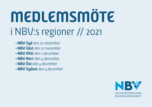 Medlemsmöte i NBV:s regioner 2021